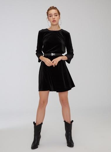 People By Fabrika Kadife Bol Kesim Elbise Siyah